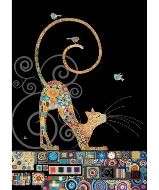 BUG ART AMYS JEWELS CAT WITH BIRDS M141